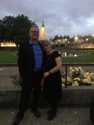 Me and my husband Steve Marsh, Secretary of the Appeal, as the sun goes down on Westminster